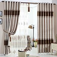 זול וילונות חלון-וילונות וילונות חדר שינה קולור בלוק כותנה / פוליאסטר מובלט