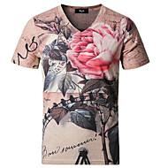 Herre - Blomstret Kineseri T-shirt