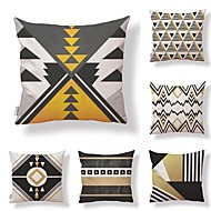 6 kpl Textile Puuvilla/pellava Tyynynpäälinen, Geometrinen Erikoiskuvio Uutuudet Klassinen tyyli Korkealaatuinen