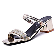 Χαμηλού Κόστους Shoes Trends-Γυναικεία Παπούτσια PU Καλοκαίρι Ανατομικό Σανδάλια Κοντόχοντρο Τακούνι Χρυσό / Μαύρο / Ασημί