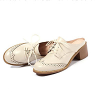 Women's Shoes Nappa Leather Summer Comfort Clogs & Mules Chunky Heel for Black / Beige