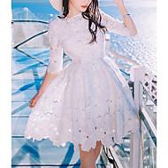 Жен. Тонкие Скейтер Платье - Однотонный Выше колена