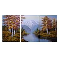 billiga Abstrakta målningar-Hang målad oljemålning HANDMÅLAD - Abstrakt Landskap Samtida Moderna Duk