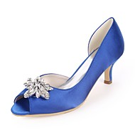 baratos Sapatos Femininos-Mulheres Sapatos Cetim Primavera Verão Plataforma Básica Sapatos De Casamento Salto Sabrina Peep Toe Pedrarias Azul Real / Champanhe /