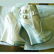 baratos Sapatos Femininos-Mulheres Sapatos Couro Ecológico Outono & inverno Inovador / Curta / Ankle Botas Salto Plataforma Ponta Redonda Botas Curtas / Ankle