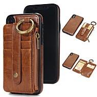 Etui Til Apple iPhone X / iPhone 8 Kortholder / Pung / Med stativ Fuldt etui Ensfarvet Hårdt ægte læder for iPhone X / iPhone 8 Plus /