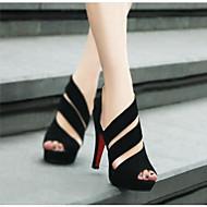 baratos Sapatos Femininos-Mulheres Couro Ecológico Primavera Verão Conforto Saltos Salto Agulha Preto