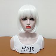 Syntetiske parykker Lige Bob frisure Syntetisk hår Dame / Medium størrelse / Med Bangs Hvid Paryk Dame Mellemlængde Lågløs Hvid / Ja