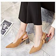 baratos Sandálias Femininas-Mulheres Sapatos Lã Verão MaryJane Sandálias Salto Robusto Dedo Apontado Preto / Amêndoa