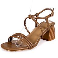 baratos Sapatos Femininos-Mulheres Couro Ecológico Verão Conforto Sandálias Salto Robusto Ponta Redonda Preto / Bege / Café