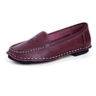 Mujer Zapatos Cuero de Napa Primavera verano Confort Zapatos de taco bajo y Slip-On Tacón Bajo Dedo redondo Borla Wine 84xOkrp3