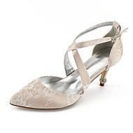 baratos Sapatos Femininos-Mulheres Sapatos Renda Verão Conforto / D'Orsay / Plataforma Básica Sapatos De Casamento Salto Cone Dedo Apontado Pedrarias / Laço /