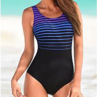Pentru femei De Bază Fără Bretele Albastru piscină Negru Bustieră Fașă Elastică Cheeky O Piesă Costume de Baie - Dungi Fără Spate L XL XXL Albastru piscină