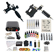 billige Tatoveringssett for nybegynnere-Tattoo Machine Startkit - 2 pcs tattoo maskiner med 7 x 15 ml tatovering blekk, Profesjonell, Sæt Mini strømforsyning No case 2 x roterende tatoveringsmaskin til lining og skyggelegging