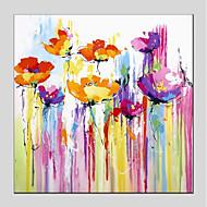 voordelige -Hang-geschilderd olieverfschilderij Handgeschilderde - Abstract / Bloemenmotief / Botanisch Modern Kangas