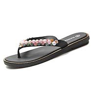 baratos Sapatos Femininos-Mulheres Sapatos Couro Ecológico Verão Conforto Chinelos e flip-flops Sem Salto Miçangas Branco / Preto