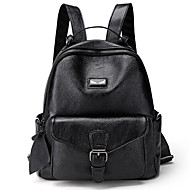 Women's Bags Genuine Leather / Cotton / Polyester Backpack Buttons / Zipper Black / Black / White