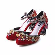 baratos Sapatos Femininos-Mulheres Sapatos Veludo Outono Conforto / Plataforma Básica Saltos Salto Robusto Preto / Vermelho / Azul Claro