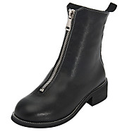 cheap Women's Boots-Women's Shoes Leather Spring / Fall Fashion Boots / Combat Boots Boots Flat Heel Round Toe Black