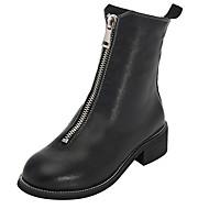 abordables Bottes pour Femme-Femme Chaussures Cuir Printemps / Automne Bottes à la Mode / boîtes de Combat Bottes Talon Plat Bout rond Noir