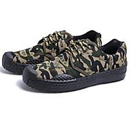baratos Sapatos Masculinos-Homens Lona Primavera Conforto Tênis Verde Tropa / Castanho Claro / Khaki