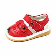 tanie Obuwie dziewczęce-Dla dziewczynek Obuwie Skórzany Lato Buty do nauki chodzenia Sandały Kwiat na Czerwony / Różowy