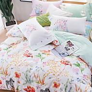baratos Edredons Florais-Conjunto de Capa de Edredão Floral Poliéster / Algodão Impressão Reactiva 4 PeçasBedding Sets