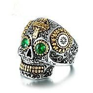 Cubic Zirconia Γεωμετρική Band Ring Κρανίο Βίντατζ Μοδάτο Δαχτυλίδι Κοσμήματα Πράσινο Για Πάρτι Δώρο 8 / 9 / 10 / 11 / 12