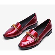baratos Sapatos Femininos-Mulheres Sapatos Pele Napa / Pele Outono Conforto Mocassins e Slip-Ons Salto Baixo Preto / Vinho