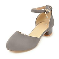 baratos Sandálias Femininas-Mulheres Sapatos Pele Nobuck Verão Tira em T / MaryJane Sandálias Salto Baixo Preto / Cinzento / Rosa claro