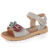 お買い得  フラワーガールシューズ-女の子 靴 レザーレット 夏 コンフォートシューズ / フラワーガールシューズ サンダル のために ホワイト / グレー / ピンク