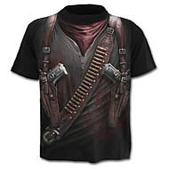 Χαμηλού Κόστους -Ανδρικά Μεγάλα Μεγέθη T-shirt Κομψό στυλ street / Στρατιωτικό / Εξωγκωμένος - Βαμβάκι 3D Στάμπα / Κοντομάνικο