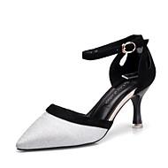 billige Kustomiserte dansesko-Dame Moderne sko Fløyel Sandaler Slim High Heel Kan spesialtilpasses Dansesko Sølv / Ytelse