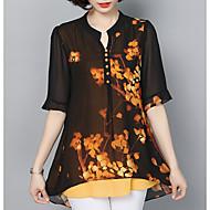 V-hals Løstsiddende Dame - Blomstret Bluse