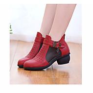 ieftine Dance Boots-Pentru femei Cizme Dans PU Adidași Toc Jos Pantofi de dans Negru / Bej / Rosu / Performanță / Antrenament