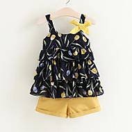Djeca Djevojčice Jednobojni / Cvjetni print Bez rukávů Komplet odjeće