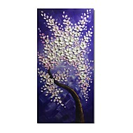 billiga Blom-/växtmålningar-styledecor® modernt handmålade vita och rosa blommaträd på den lila bakgrundsoljemålningen på duk redo att hänga konst
