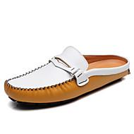 baratos Sapatos Masculinos-Homens Mocassim Pele Primavera / Outono Conforto Tamancos e Mules Preto / Amarelo / Azul