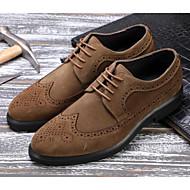 baratos Sapatos Masculinos-Homens Pele Outono Conforto Oxfords Preto / Khaki