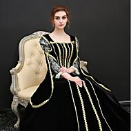 Prinsesse Renæssance Kostume Dame Kjoler Dragter Festkostume Maskerade Kostume Sort Vintage Cosplay Polyester 3/4-ærmer Pufærmer Halloween Kostumer