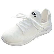 preiswerte -Damen Schuhe Tüll Sommer Komfort Sportschuhe Walking Flacher Absatz Runde Zehe Weiß / Schwarz / Rosa