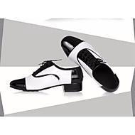 billige Men's Dance Shoes-Herre Sko til latindans Lær Oxford Tykk hæl Dansesko Svart-Hvit / Ytelse / Trening
