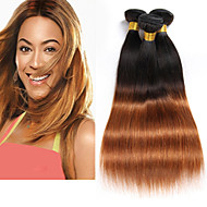 preiswerte -0.1-Brasilianisches Haar Unbehandeltes Haar Glatt Menschliches Haar Webarten 3 Stück Geruchsfrei Schlussverkauf Beste Qualität Natürlich Ombre