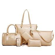 お買い得  バッグセット-女性用 バッグ PU バッグセット 6個の財布セット ジッパー シャンパン / ホワイト / ブラック