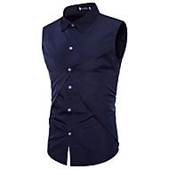 رجالي قطن قميص رياضي Active / أناقة الشارع لون سادة أسود L / بدون كم / الصيف / الخريف