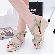 baratos Sapatos Femininos-Mulheres Sapatos Couro Ecológico Verão Conforto Sandálias Salto Plataforma Verde / Amêndoa / Calcanhares