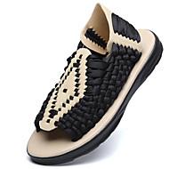 baratos Sapatos Masculinos-Homens Linho Verão / Outono Conforto Sandálias Tênis Anfíbio Preto / Bege / Café