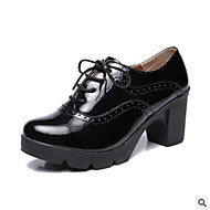 cheap Women's Oxfords-Women's Shoes PU(Polyurethane) Summer Comfort Oxfords Chunky Heel Black / Wine / Almond