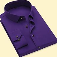 אחיד עסקים / בסיסי Party / עבודה כותנה, חולצה - בגדי ריקוד גברים אפור XXL / שרוולים קצרים / שרוול ארוך