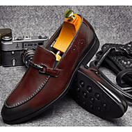 baratos Sapatos Masculinos-Homens Pele Napa / Pele Outono Conforto Mocassins e Slip-Ons Branco / Preto / Vinho